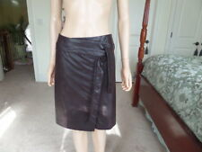 Sara Campbell Brown Faux Lamb Leather Belted A-Line Skirt Size 4