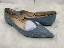 NEW! SHOES OF PREY T-Strap Pointed Embossed Ballet Flat Shoes, 8 - Steel Gray
