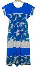 Vintage 1970's HILDA HAWAII Long Muumuu Turquoise/White See Measurements USA