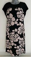 LAURA ASHLEY Women's Beige & Black Floral Stretchy Shift Dress. Size UK 8, EU 34