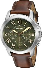 Fossil FS5153 Grant Chronograph Green Dial Brown Leather 44mm Men's Watch