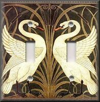 Metal Light Switch Plate Cover Art Nouveau Swans Decor Vintage Home Decor Swan