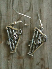 Harp 3D Silver Plated Lead Free Pewter Music Earrings