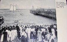 1909 Asbury Park, New Jersey, YACHT EMMA B., Fishing Pier Photo Postcard