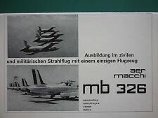 12/1964 PUB AVION AERMACCHI MB 326 JET TRAINER AERONAUTICA MILITARE GERMAN AD