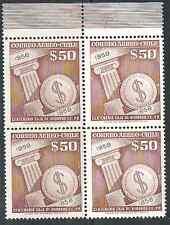 CHILE 1958 MNH block of 4 Caja de Ahorros