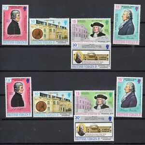 2 SETS OF BRITISH VIRGIN ISLANDS 1973 INTERPEX QUAKERS MOUNTED MINT AND MNH