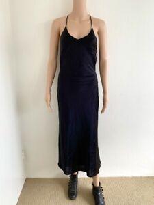 Hansen & Gretel dress size XS black bias cut midi length silk sexy evening date