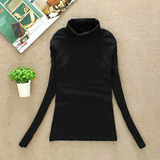 Women Ladies Winter Warm Casual Slim Fit Turtle Neck Long Sleeve T-Shirt Tops