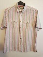 MARKS & SPENCERS - Mens Gentlemans Boys Short Sleeved Striped Shirt Size Large