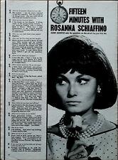 Rosanna Schiaffino Quinze Minutes Avec… Vintage Film Étoile Interview Article