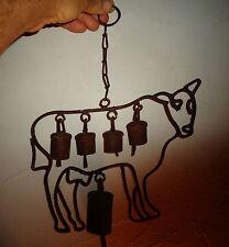 Ancien Fer Forgé Art Populaire Vache d'Alpages Cloches Sonnaille Savoie Alpes