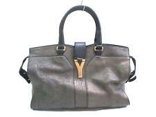 Auth Yves Saint Laurent rivegauche (YSL) Cabas Chyc Dark Brown Leather Handbag