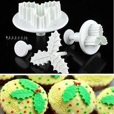 2pcs Plastic Holly Leaf Shape Fondant Cake Decor Plunger Cutter DIY Mold Tool