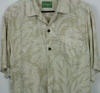 TOMMY BAHAMA HAWAIIAN Camp Shirt All Silk Gold White Geometric Flap Pocket Large