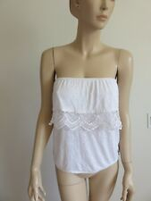 TILLY'S FULL TILT SIZE M/L WHITE RUFFLED LACE TRIM ELASTIC STRAPLESS TUBE TOP