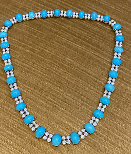 Oval Turquoise and Round Diamond Choker Necklace in Platinum -- HM2279IB