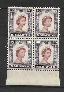 Sarawak 1955 30c SG#198 in block of 4 margin MNH superb white gum CV £32++