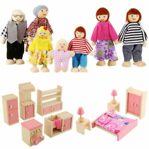 Wooden Dolls House Set Family Room Furniture Miniature Toys Kids Girl Gifts UK