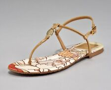 Tory Burch Women's Emmy Sandals T-Strap Thong Flats Brown Patent Leather Size 10