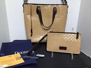 Dooney Bourke Basket Weave Leather Lilliana Shopper Tote Wristlet Key Fab