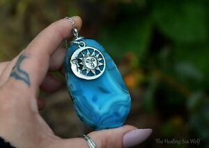 Blue Agate + Sterling Silver Pendant / Necklace Spiritual Sun & Moon Jewellery