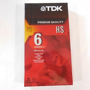 6 TDK Premium Quality HS New VHS Tapes 6 Hrs T-120  Factory Sealed + a 8 Hr Tape