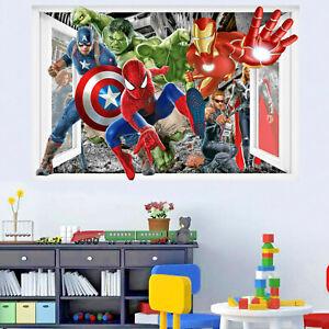 Superheroes Avengers Spiderman Hulk Wall Stickers Art Mural Boys Room Decor 321