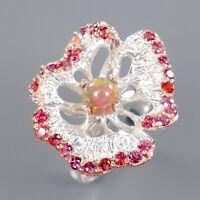 Opal Ring Silver 925 Sterling Beauty Rainbow5x5mm Size 7.75 /R141429