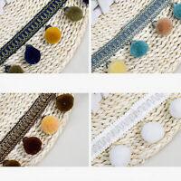 1 Yards of 7cm Wide Pompom Balls Lace Trim Ribbon Fabric Crafts Sewing DIY