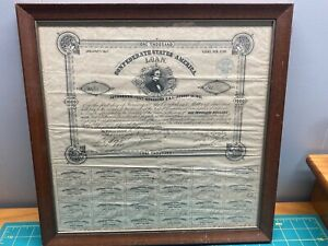 Confederate States of America Loan #23 One Thousand $1,000 Jan 31,1863 8% Framed