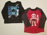 Garanimals Boys Epic Genius Shirt + Robot Fun Shirt Toddler Sizes 2T, 4T