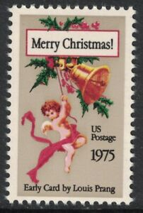 Scott 1580- Early Christmas Card by Louis Prang- MNH 10c 1975- unused mint stamp