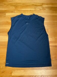 Nike Dri Fit Mens Navy Blue Sleeveless Active Top Size L