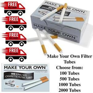 100 / 500 / 1000 / 2000 Make Your Own Kingsize Rizla Empty Cigarette Tubes