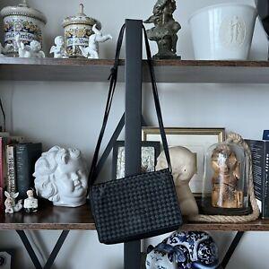 Vintage Bottega Veneta Black Satin Crossbody Shoulder Small Bag Intrecciato