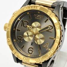 New NIXON Watch Mens 51-30 CHRONO Gunmetal & Gold A083-595 A083595