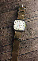 Poljot Square Watch 23 Jewels Automatic  Soviet Vintage Handmade Leather Strap
