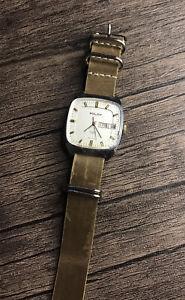 Poljot Square Watch 23 Jewels Automatic  Soviet Vintage Handmade Leather Strap