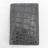 Crocodile Leather Skin Credit Card Holder DOUBLE SIDE Genuine Alligator Gray/Ora