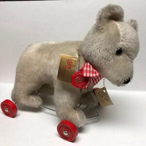 GEBR. HERMANN TEDDY ORIGINAL PLUSH TEDDY BEAR ON WHEELS W. GERMANY TAG NOS