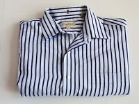 Tommy Bahama Button Front Shirt Blue Striped Long Sleeve Men's  17 34-35 74-14