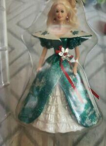 Barbie Hallmark Holiday Christmas Stocking Hanger 1996  Green Dress Glitz