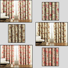 CLEARANCE Bouquet Floral Design Lined Pair Of Curtains - 3 Colours -Free Postage
