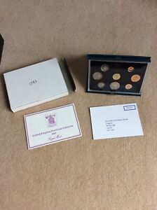 1983 ROYAL MINT PROOF SET  BLUE CASE WITH LEAFLET AND OUTER  Box