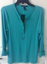 Ralph Lauren Designer Teal Green Long Sleeve Zip Shirt Women's L NWT Great Gift!