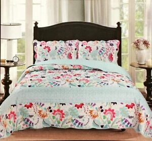 King Double Size Floral Patchwork Bedspread Set & Pillow Shams Polyester Filled