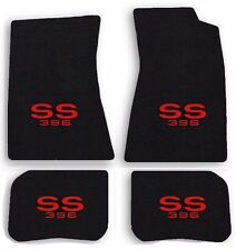 NEW! 1968-1972 Chevelle Floor Mats Black Carpet Embroidered SS 396 Red logo All
