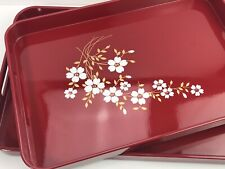 Vintage  2 Piece Nesting Lacquerware Tray Set Japan Red Floral