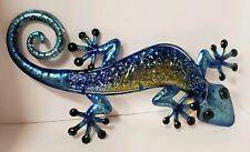 "Regal Art Watercolor Gecko 18"" Watercolor Blue Metal Glass 12361"